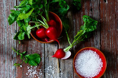 Radishes. Top view of fresh organic radishes with leaves and sea salt on rustic wooden background Stock Images