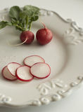 Radishes on white, old plate. Fresh radishes on white, old plate, white background Stock Images