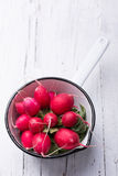 Radishes in white saucepan. On white wooden background Stock Image