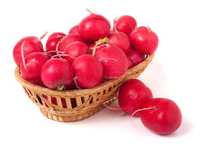 Radishes in a wicker basket isolated on white background.  Stock Photography