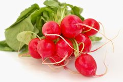 Radishes on the wooden background. Front horizontal view Stock Image