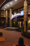 Radisson Blu Hotel, Kyiv Podil. Evening photography Stock Photo