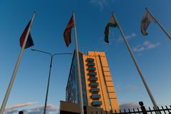 Radisson Blu hotel. Russia, Chelyabinsk. Truda street stock photo