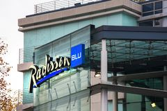 Radisson blu hotel sign in cologne germany. Cologne, North Rhine-Westphalia/germany - 26 11 18: radisson blu hotel sign in cologne germany royalty free stock images