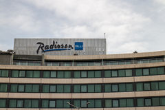 Radisson BLU. Logo on hotel in Sofia, Bulgaria royalty free stock photography