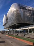 RADISSON BLU WATERFRONT HOTEL. Silver metal building. View over city Royalty Free Stock Photo