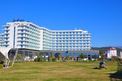 Radisson Blue Hotel, Adler, Russia. Radisson is an international hotel company and a subsidiary of the Radisson Hotel Group. It operates the brands Radisson stock photo