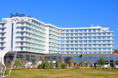 Radisson Blue Hotel, Adler, Russia. Radisson is an international hotel company and a subsidiary of the Radisson Hotel Group. It operates the brands Radisson stock photography