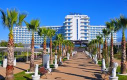 Radisson Blue Hotel, Adler, Russia. Radisson is an international hotel company and a subsidiary of the Radisson Hotel Group. It operates the brands Radisson stock image