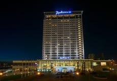 Radisson Blue hotel at night Stock Image