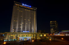 Radisson Blue hotel at night Royalty Free Stock Image