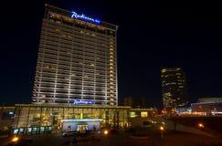 Radisson Blue hotel at night Royalty Free Stock Image