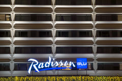 Radisson Blue hotel at night Stock Photos