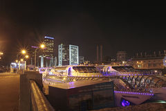 Radisson cruise boats, Moscow by night Royalty Free Stock Photos