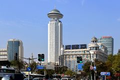 The Radisson Hotel in People`s Square in Shanghai stock photography