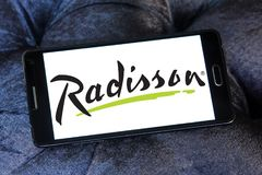 Radisson Hotels logo. Logo of Radisson Hotels on samsung mobile. Radisson Hotels is an international hotel company and a subsidiary of the Radisson Hotel Group stock photo