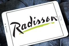 Radisson Hotels logo. Logo of Radisson Hotels on samsung tablet. Radisson Hotels is an international hotel company and a subsidiary of the Radisson Hotel Group stock images