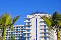 Radisson Hotel, Adler, Russia. Radisson is an international hotel company and a subsidiary of the Radisson Hotel Group. It operates the brands Radisson, Radisson royalty free stock images