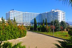 Radisson Blue Hotel, Adler, Russia. Radisson is an international hotel company and a subsidiary of the Radisson Hotel Group. It operates the brands Radisson royalty free stock image