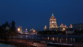 Radisson Royal Hotel in Moscow at night. Former Ukraina Hotel panoramma timelaps stock video footage
