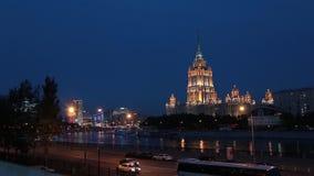 Radisson Royal Hotel in Moscow at night. Former Ukraina Hotel panoramma timelaps. Radisson Royal Hotel in Moscow at night. Former Ukraina Hotel. timelaps stock video footage