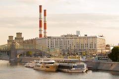Radisson Slavyanskaya Hotel and river ships Royalty Free Stock Photography