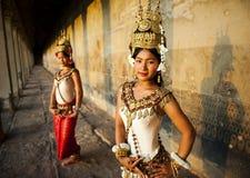 Raditional Aspara舞蹈家柬埔寨 免版税库存照片