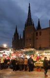 Raditional Christmas market near Cathedral. Barcelona Royalty Free Stock Photo