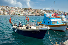 Raditional Greek fishing boat at port of Sitia town at eastern part of Crete island, Greece Royalty Free Stock Photo