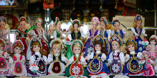 Raditional magyar dolls puppets in folk costume(traditional Hungarian clothing) in Budapest Great Market. Royalty Free Stock Photo