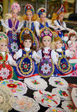 Raditional magyar dolls puppets in folk costume(traditional Hungarian clothing) in Budapest Great Market. Budapest, Hungary- 27 June, 2014: Traditional magyar Royalty Free Stock Images
