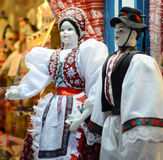 Raditional magyar dolls puppets in folk costume(traditional Hungarian clothing) in Budapest Great Market. Royalty Free Stock Images