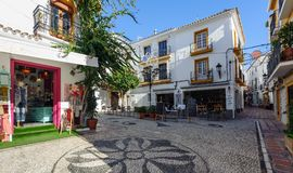 Raditional Spanish architecture of old town of Marbella, Andalusia, Spain. MARBELLA - DECEMBER 2017: Traditional Spanish architecture of old town of Marbella Royalty Free Stock Image