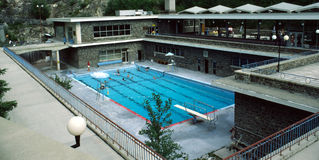 Radium Hot Springs Pool British Columbia Canada. Natural Rocky Mountain hot springs, a popular stopover for travellers at the end on the Banff-Windermere Highway stock photos