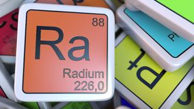 Radium Ra block on the pile of periodic table of the chemical elements blocks. 3D rendering Stock Photography