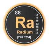 Radium Ra chemical element. 3D rendering. Isolated on white background royalty free illustration