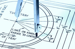 Radius. Compass and Plans Royalty Free Stock Photo