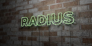 RADIUS - Glowing Neon Sign on stonework wall - 3D rendered royalty free stock illustration Stock Photo