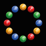 Radix Astrology Signs Circle Black. Radix of astrology with twelve symbols on colored glossy balls in their appropriate element color: red fire, ocher earth Stock Photo