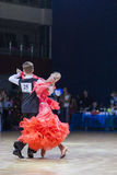Radkevich Nikita and Hut Evgeniya perform Juvenile-1 Standard European program Royalty Free Stock Image