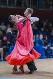 Radkevich Nikita and Hut Evgeniya perform Juvenile-1 Standard European program Royalty Free Stock Photos