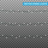 radljus Isolerade realistiska vektorjulgirlander Glödande vita ljusa effekter för nytt år för vinter och royaltyfri illustrationer