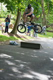 RADNOR TOWNSHIP, PA - MAY 7: BMX Stunt Performance by Chris Aceto at the Radnor Township Bike Rodeo on May 7, 2017 Stock Photos