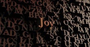 Radość - Drewniani 3D odpłacający się listy/wiadomość royalty ilustracja