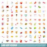 100 radość ikon ustawiających, kreskówka styl ilustracja wektor