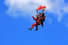 Radość pierwszy spadochronowy skok Zdjęcie Royalty Free