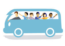 Radośni dzieci w samochodzie dostawczym Fotografia Stock