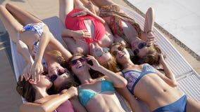 Radośni wakacje letni, kobiety firma z bodies w Swimsuit są relaksujący na deckchair pod słońcem zdjęcie wideo