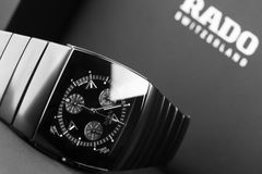 Rado Sintra Chrono, black chronograph. Saint-Petersburg, Russia - June 18, 2015: Rado Sintra Chrono, mens chronograph watch made of high-tech ceramics with Stock Photography