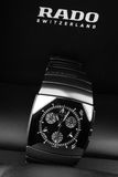 Rado Sintra Chrono. Luxury watch. Saint-Petersburg, Russia - June 18, 2015: Rado Sintra Chrono. Mens chronograph watch made of high-tech ceramics with sapphire Royalty Free Stock Image